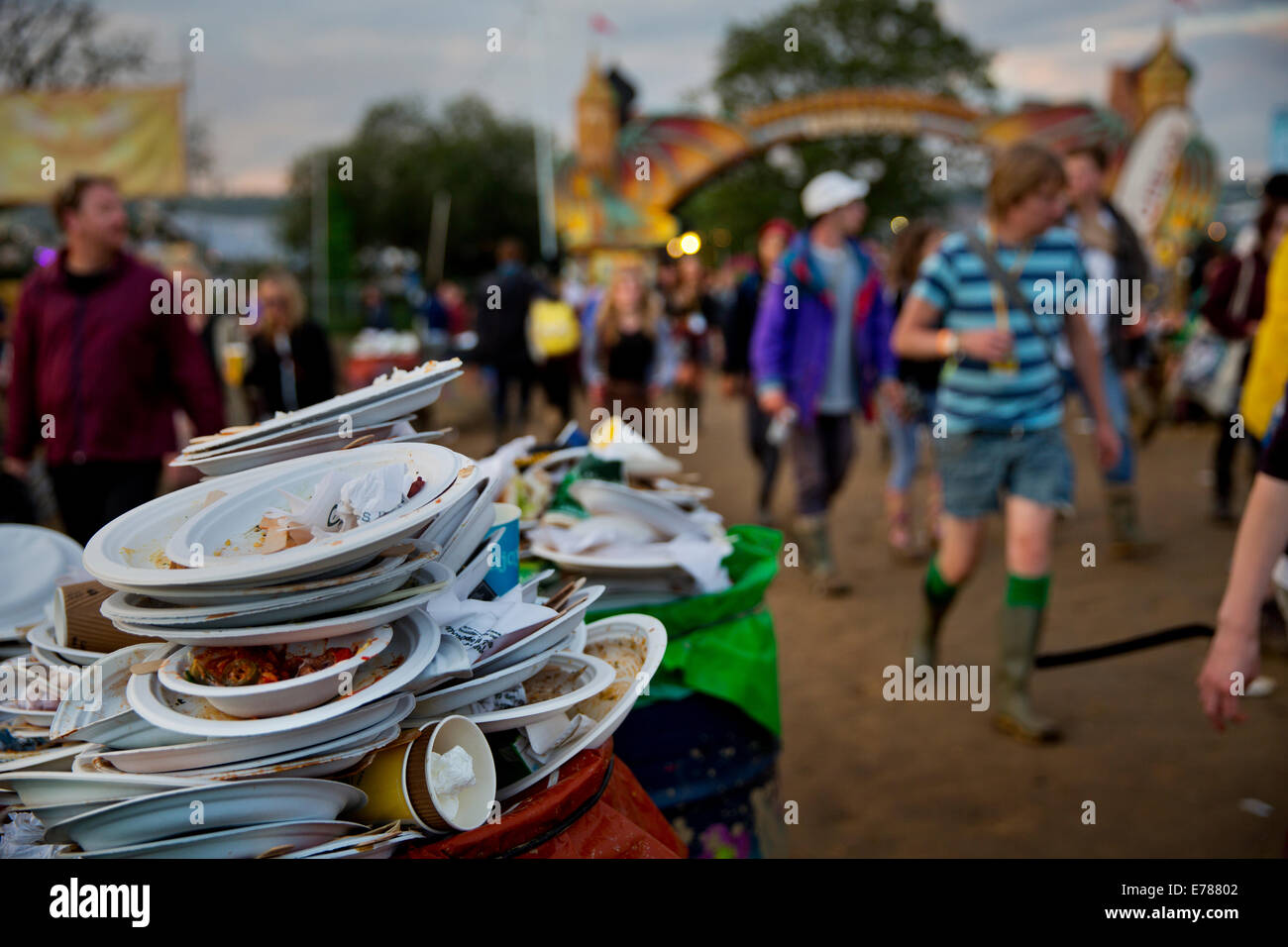 Rubbish collected daily from one of the 15,000 colourful oil drums dotted around the Glastonbury Festival site 2014. - Stock Image