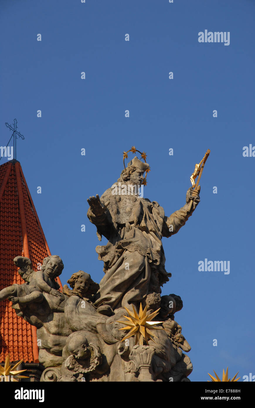 Jan Urbansky's Monument to St John Nepomuk, erected in 1730-1732, Wroclaw, Lower Silesia, Poland Stock Photo