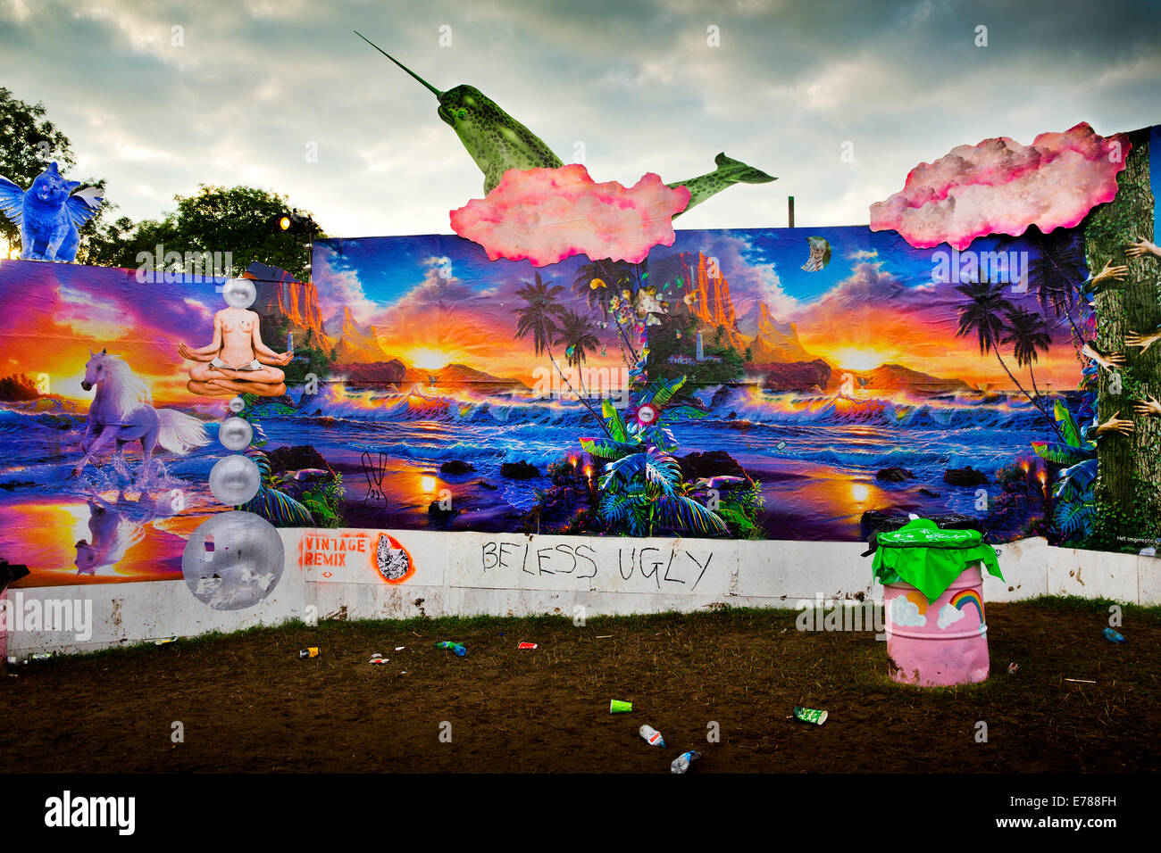 Glastonbury Festival 2014. Evolving graphic walls by Link Leisure give a dream like quality as you enter Shangri - Stock Image
