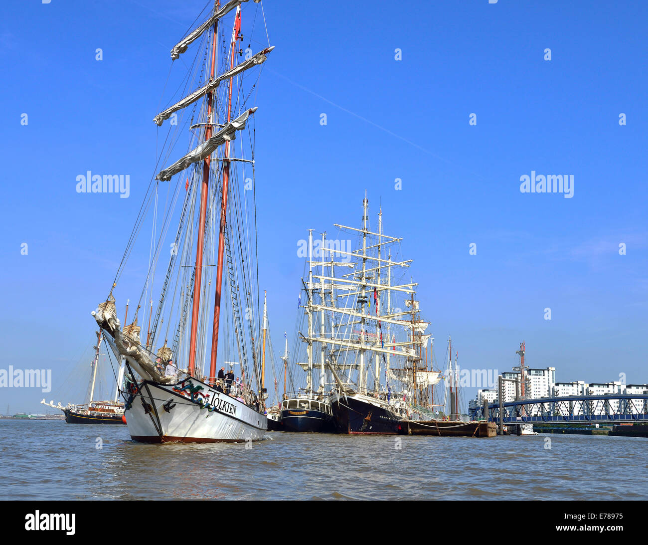 .Royal Greenwich Tall Ships 2014- Day trips on Tall Ship s from the Royal Arsenal Woolwich with 'Tolkien' - Stock Image