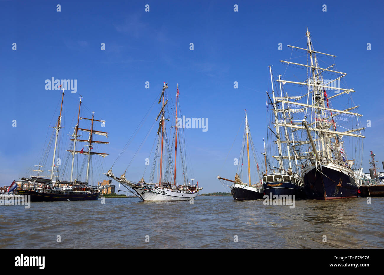 .Royal Greenwich Tall Ships 2014- Day trips on Tall Ships from the Royal Arsenal Woolwich with 'Tolkien' - Stock Image