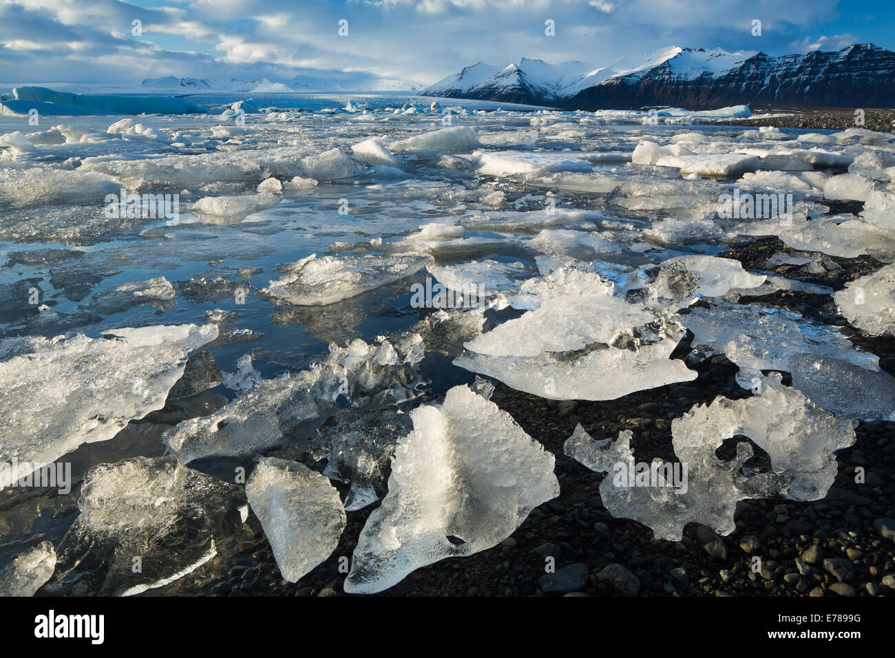 Jökulsárlón glacial lagoon, eastern Iceland - Stock Image
