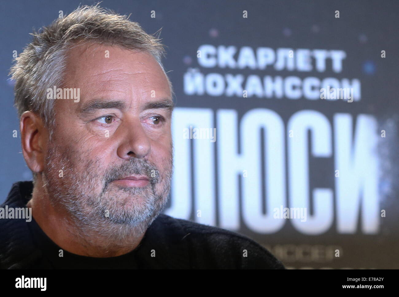 Moscow, Russia. 9th Sep, 2014. French film director Luc Besson gives a press conference to promote his latest sci - Stock Image