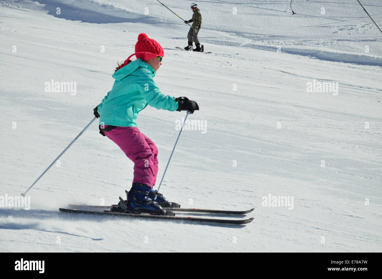 Youth skier on the piste - Stock Image
