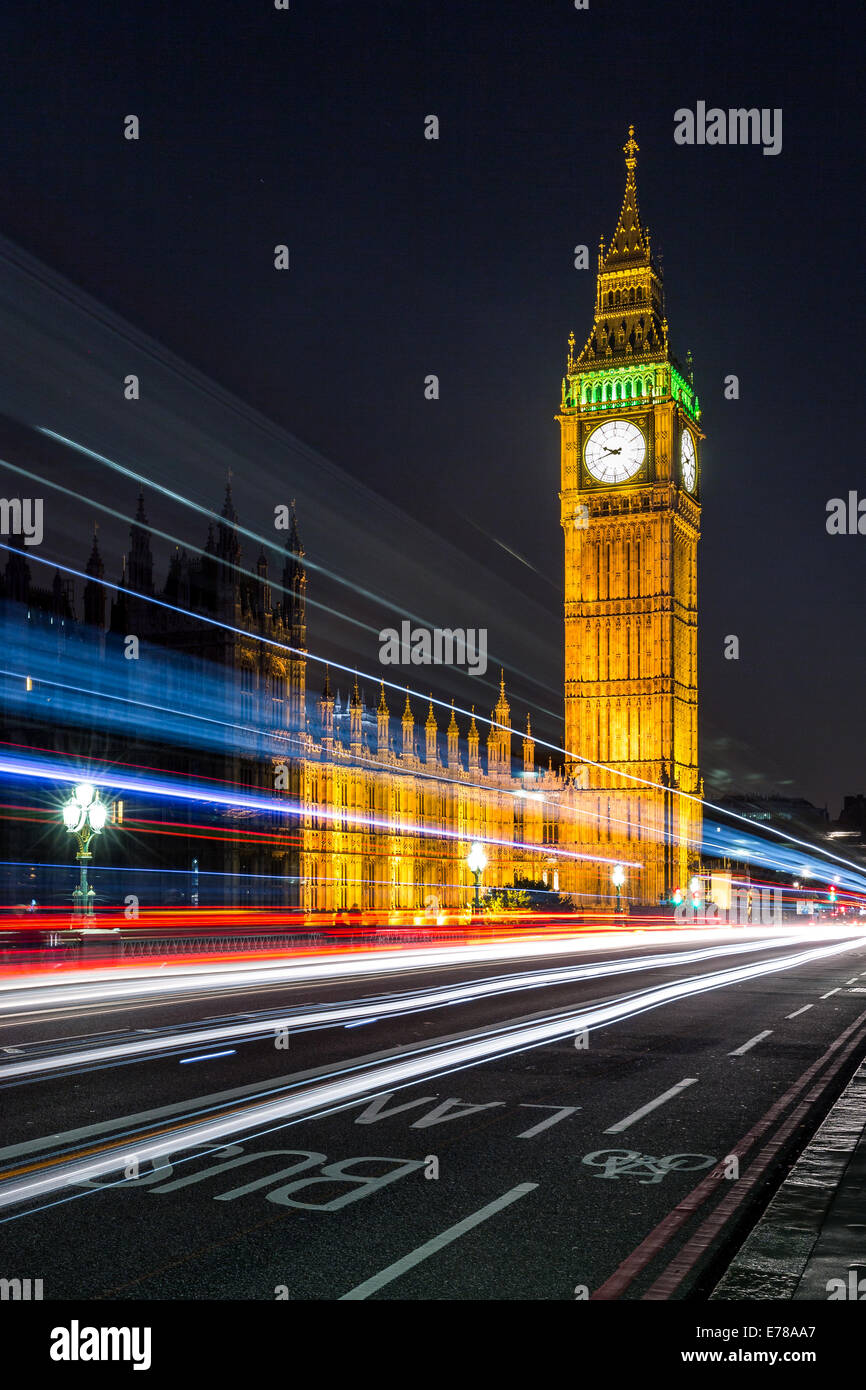 Colours of the Union Jack & Big Ben. Long exposure of the traffic passing on Westminster Bridge in London, England. - Stock Image