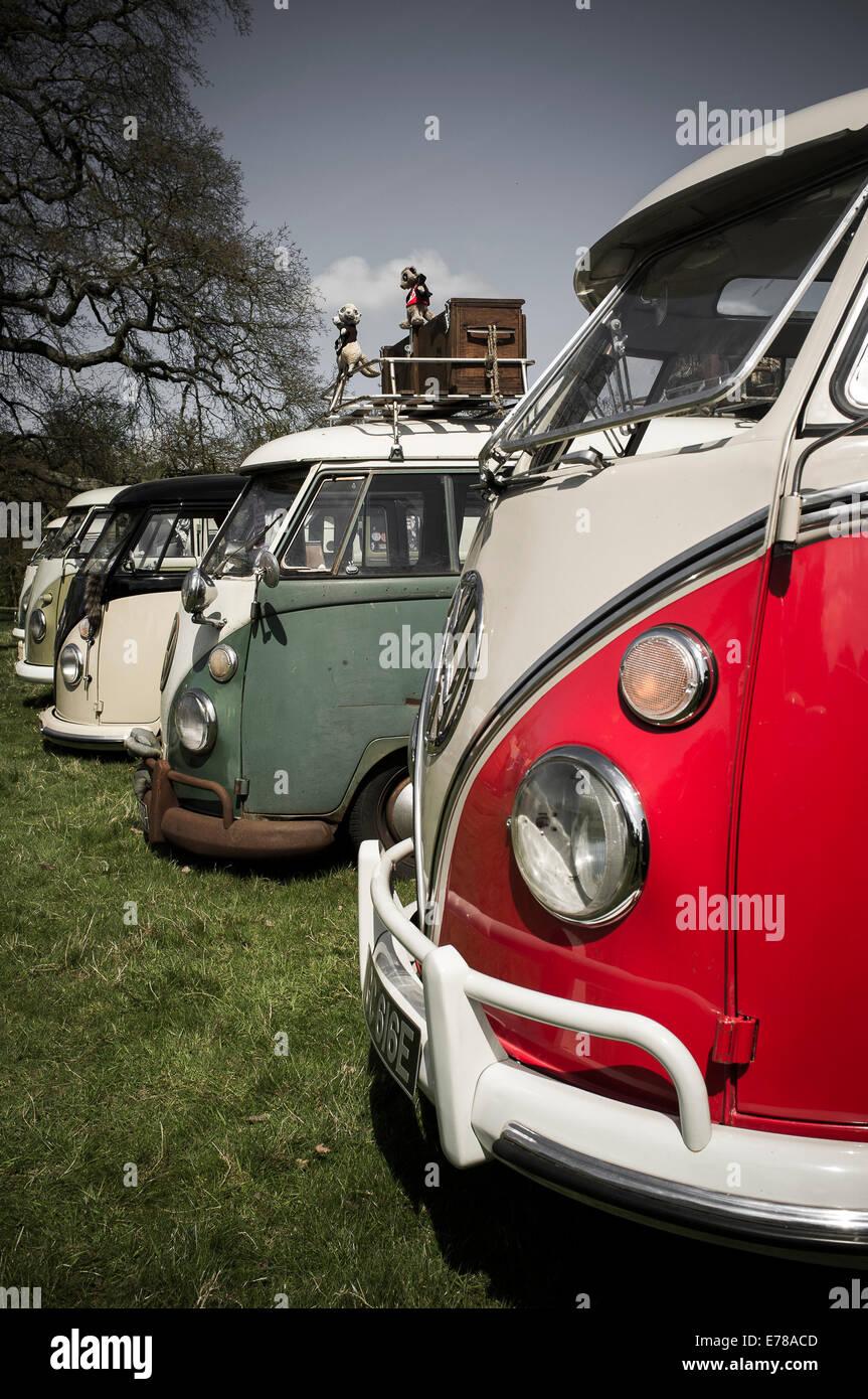 Row of classic volkswagen camper vans. - Stock Image