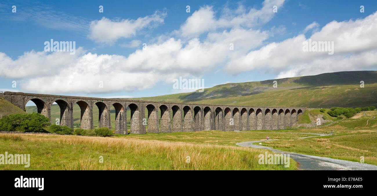 Panoramic view of Ribblehead viaduct, massive 19th century British rail bridge crossing Ribble Valley and under - Stock Image