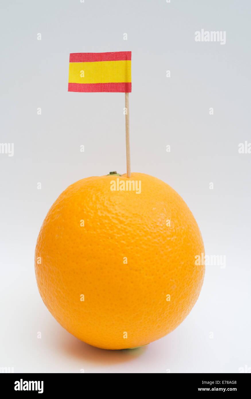 Orange with Spanish flag Stock Photo