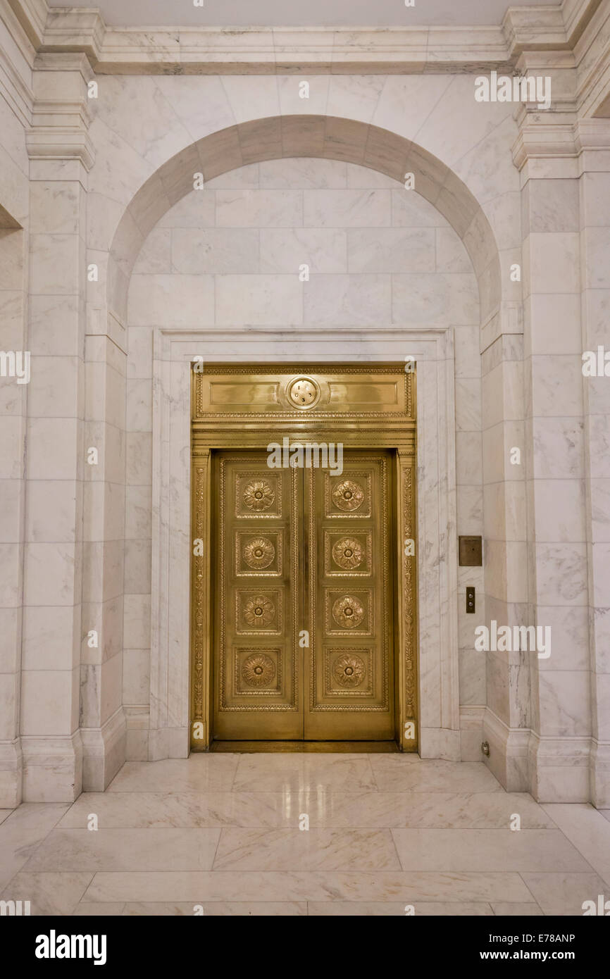 Vintage brass elevator doors at US Supreme Court building - Washington, DC USA - Stock Image