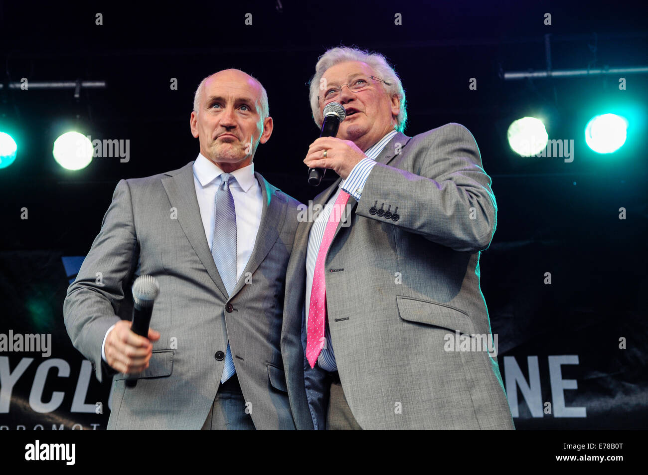 Belfast, Northern Ireland. 9 Sep 2014 - Barry McGuigan is interviewed by Jackie Fullerton at the civic reception - Stock Image