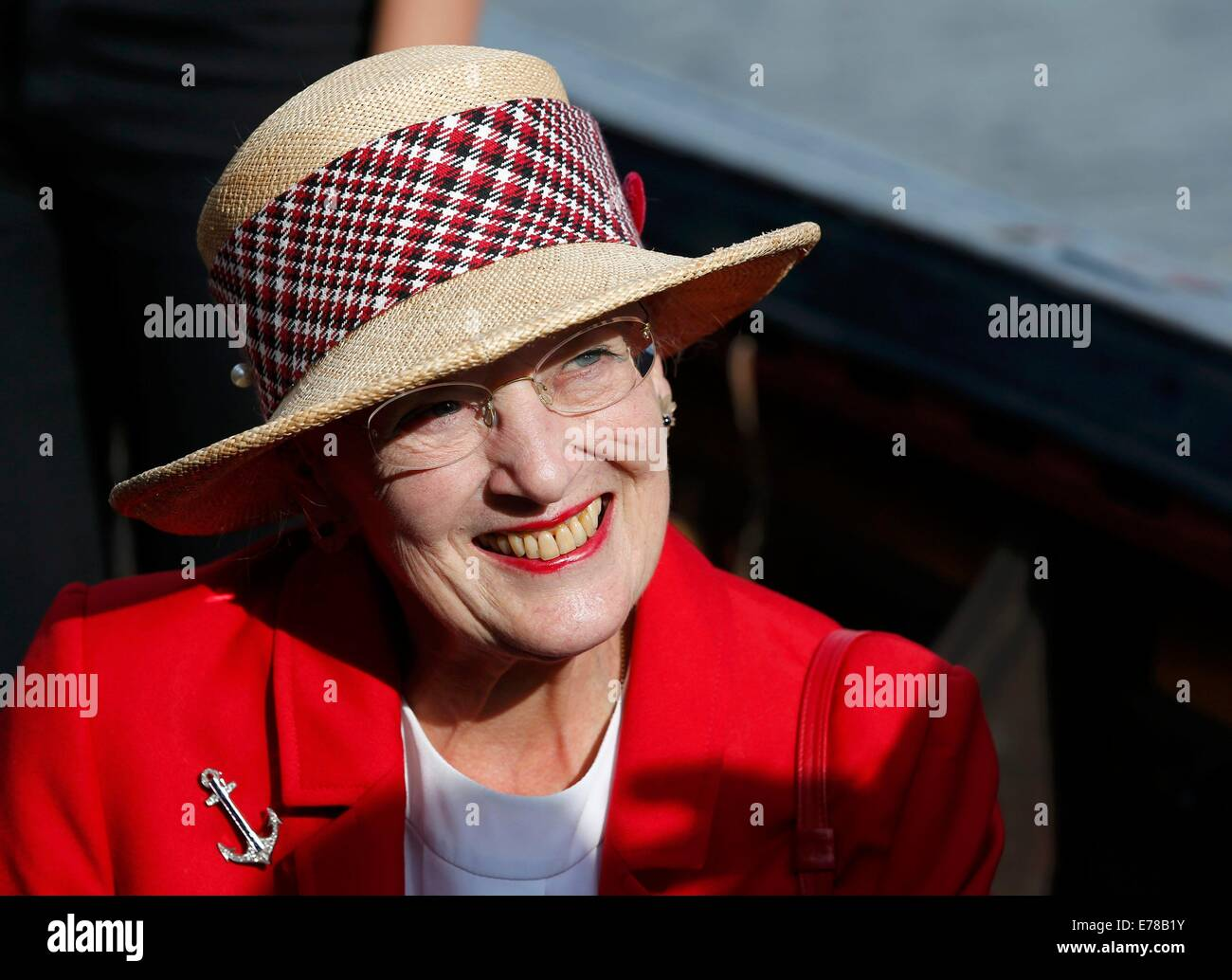 Berlin, Germany. 9th Sep, 2014. Denmark's Queen Margrethe II visits the Danish ship Havhingsten fra Glendalough - Stock Image