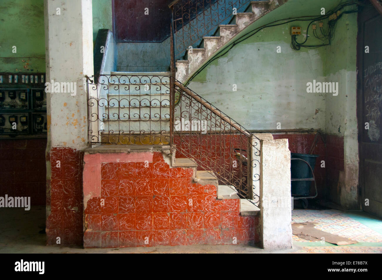 Colorful decaying stairway and hall in Old Havana - Stock Image