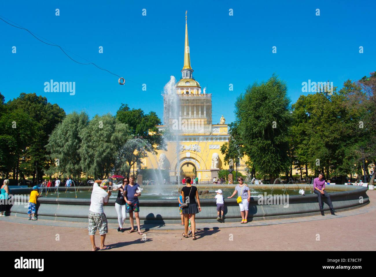 Admiralty building tower (1823), Alexander Garden, central Saint Petersburg, Russia, Europe - Stock Image