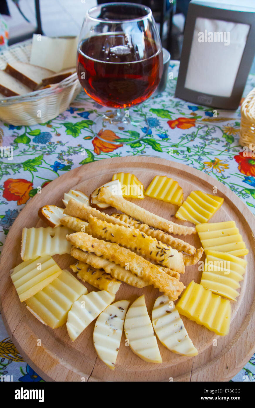 Cheese snack plate to go along with beer, main square, Vilnius, Lithuania, Europe - Stock Image