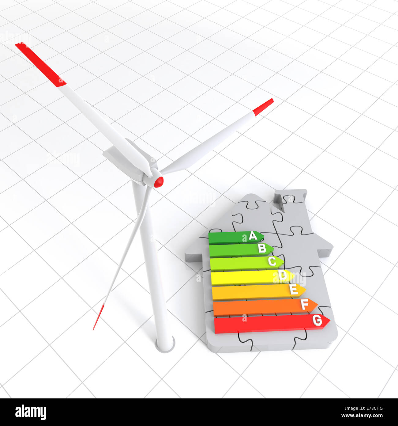 Energy Efficiency Home Puzzle and Wind Turbine. Digitally Generated Image. - Stock Image