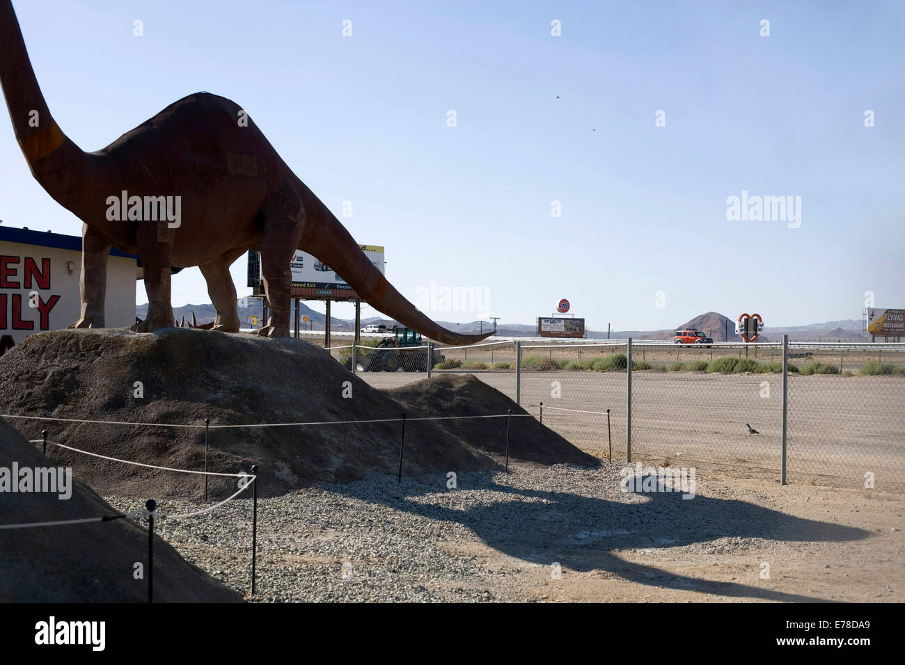 A model diplodocus dinosaur by the road side in Las Vegas - Stock Image
