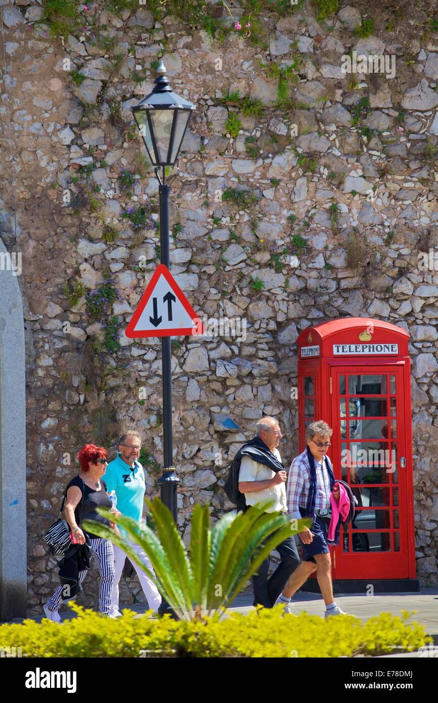 Traditional UK Phone Box, Gibraltar, Cadiz Province, South West Europe - Stock Image