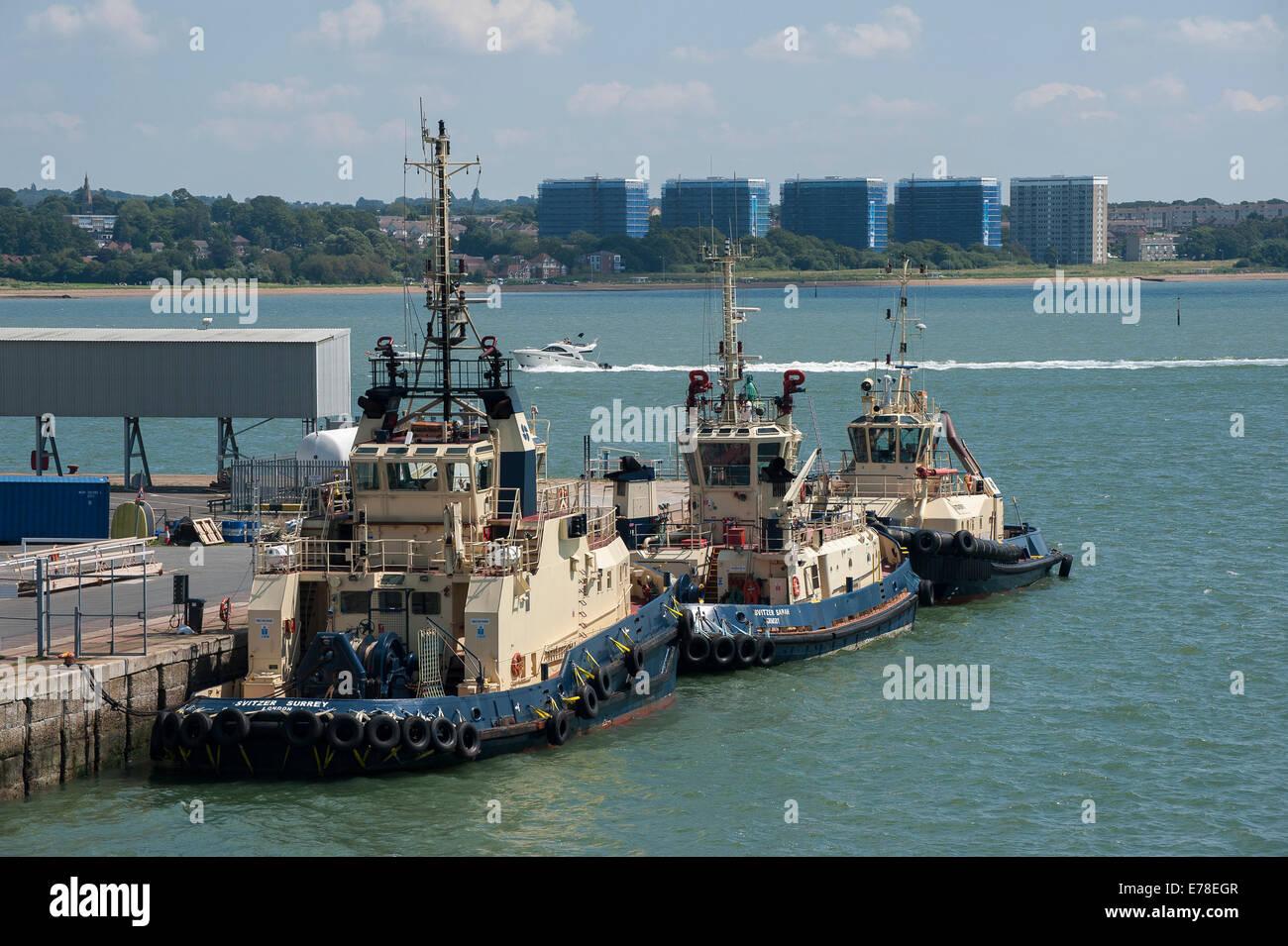 Tug boats at Southampton docks, England. - Stock Image
