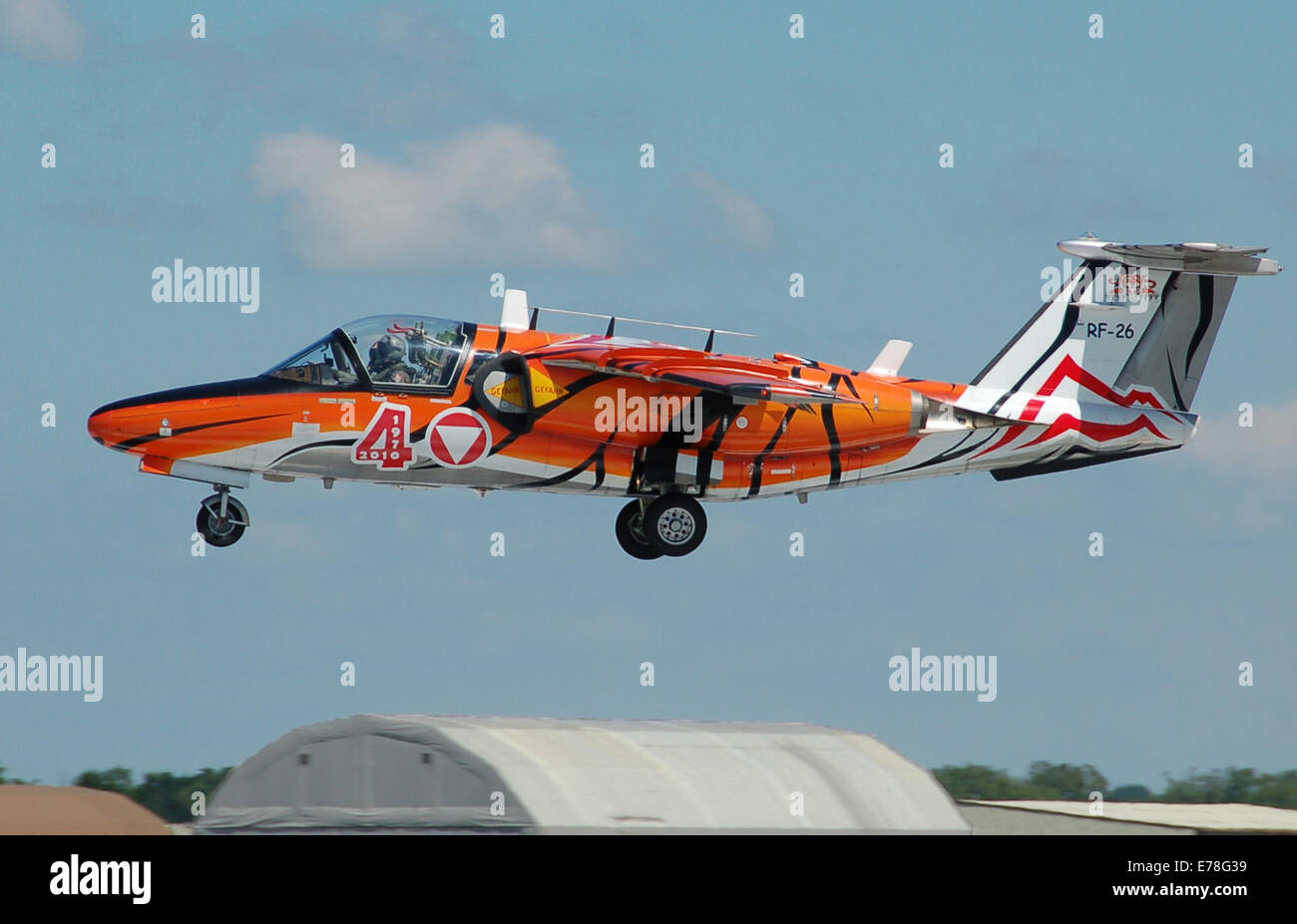 Saab 105 Oe military trainer (code RF-26) of the Austrian Air Force arrives for the 2014 Royal International Air - Stock Image