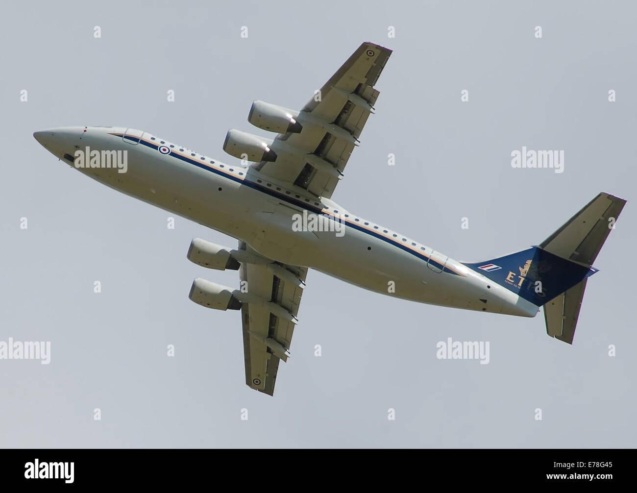 Qinetiq BAe Avro RJ100 (QQ101)departs the Royal International Air Tattoo, Monday 14th July 2014. The forward fuselage - Stock Image