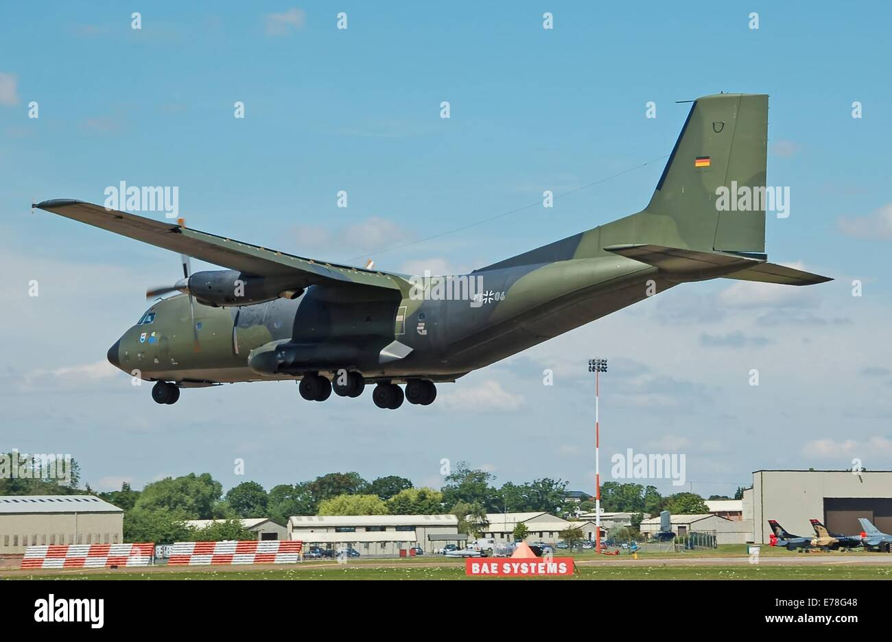 German Air Force Transall C-160D (51-06) arrives at RAF Fairford, Gloucestershire, England, on 10th July 2014, for - Stock Image