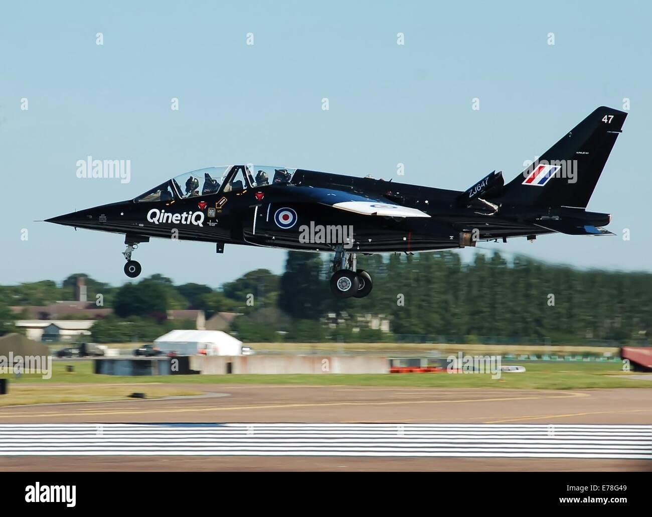 Qinetiq Dassault/Dornier Alpha Jet (ZJ647) arrives at RAF Fairford, Gloucestershire, England, for the Royal International - Stock Image
