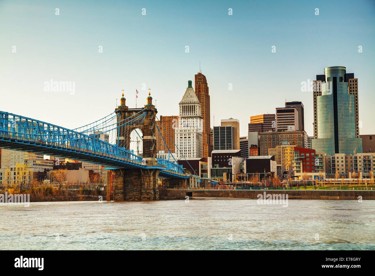 Cincinnati downtown overview in the evening - Stock Image