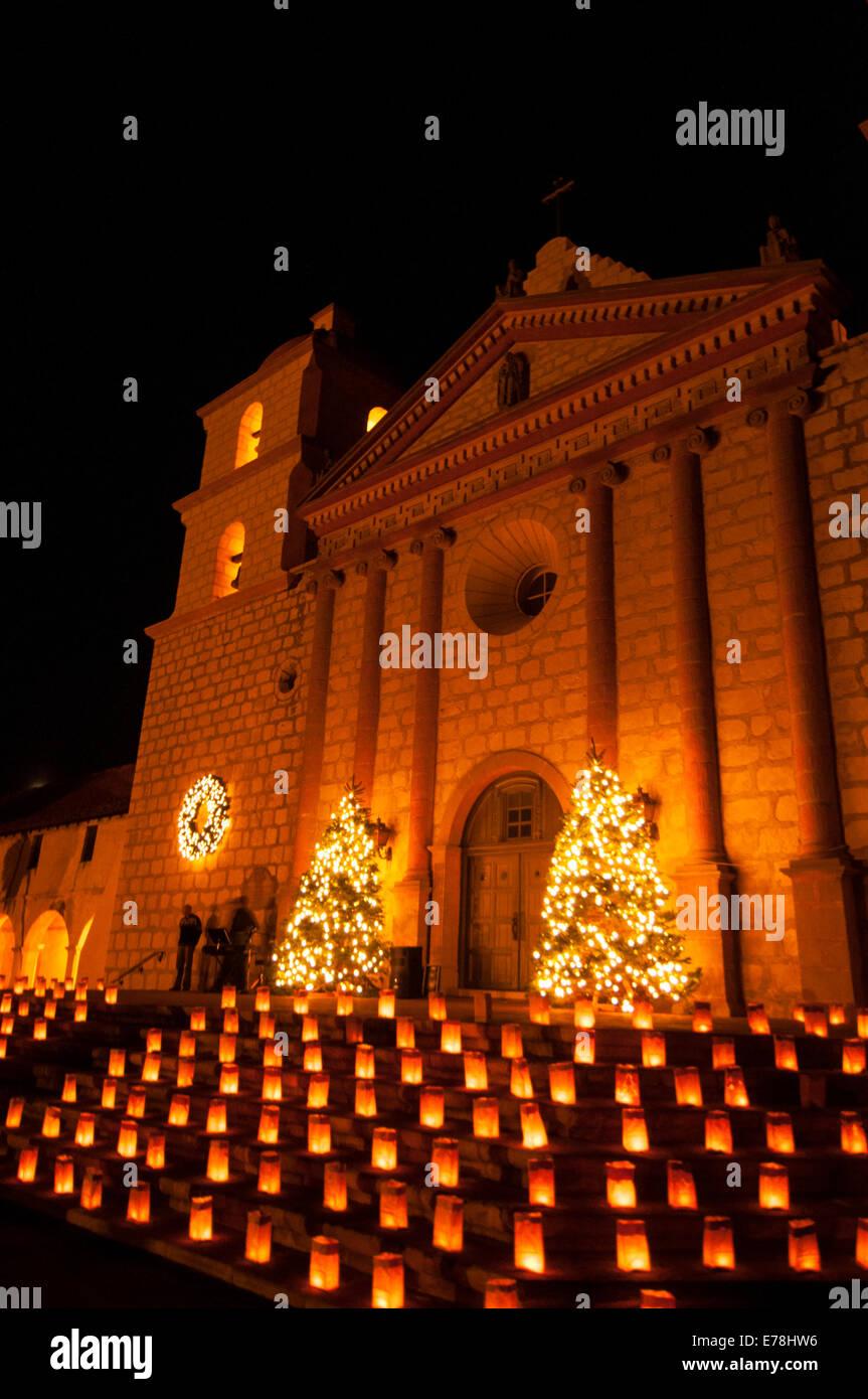 santa barbara lighting christmas lights christmas lights at mission of santa barbara queen the missions on central coast california usa