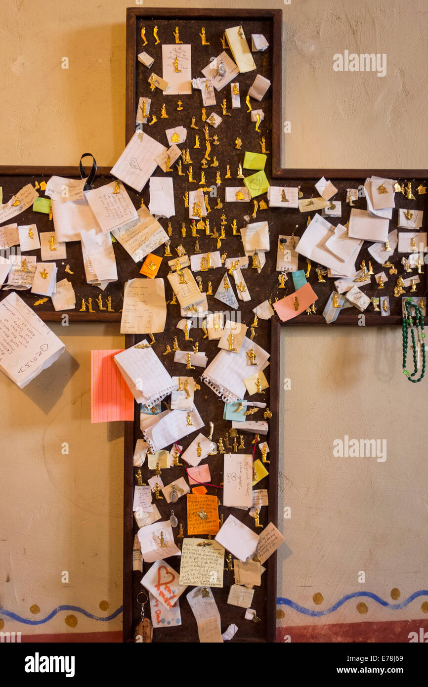 Notes of thanks and prayers from supplicants asking for spiritual help in old Soledad Mission; Soledad; California - Stock Image