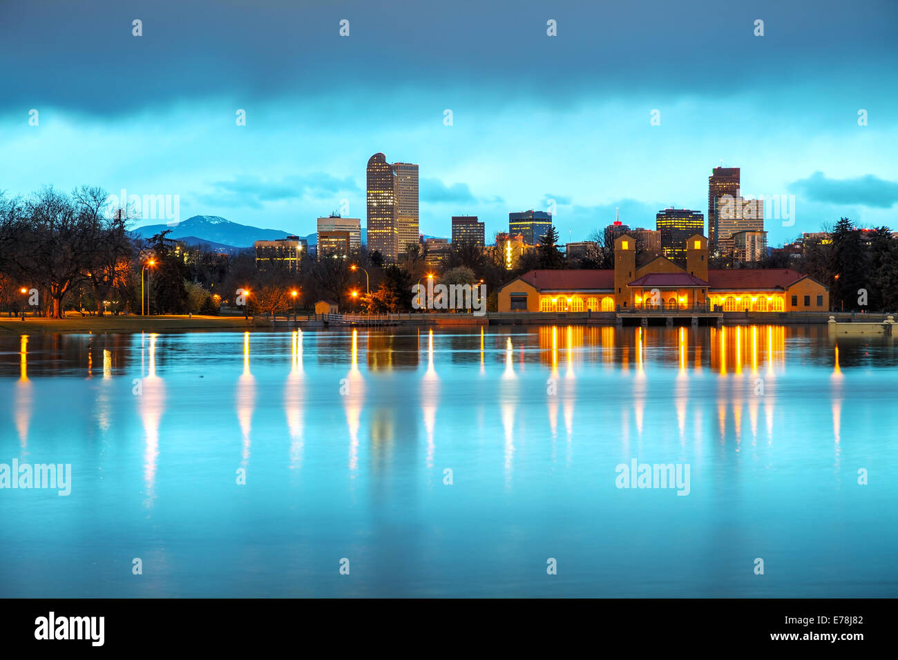 Downtown Denver, Colorado at the morning as seen from City Park - Stock Image