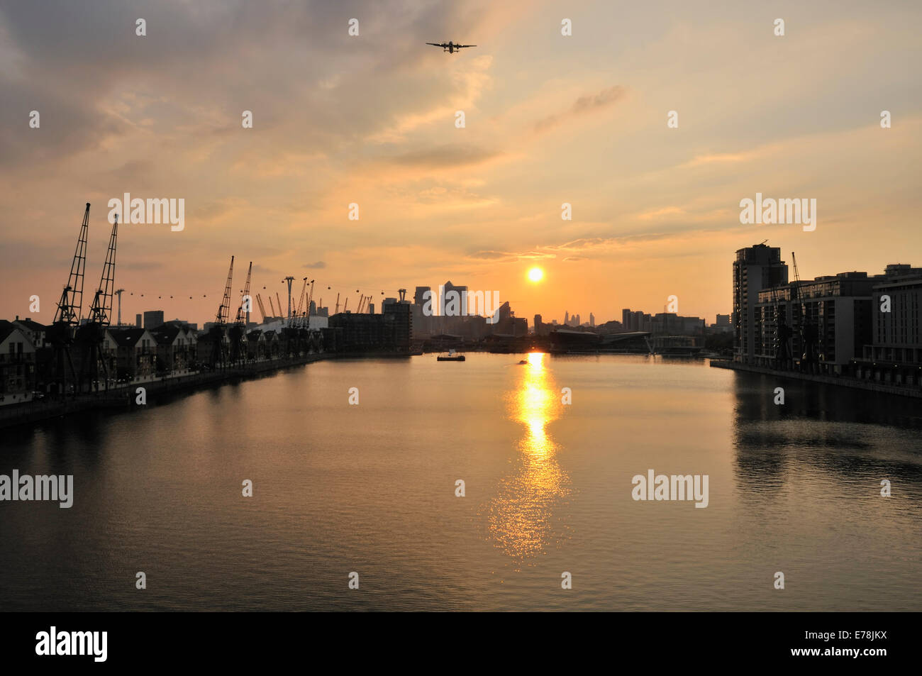 Royal Victoria Dock, Docklands, London UK, at sunset - Stock Image