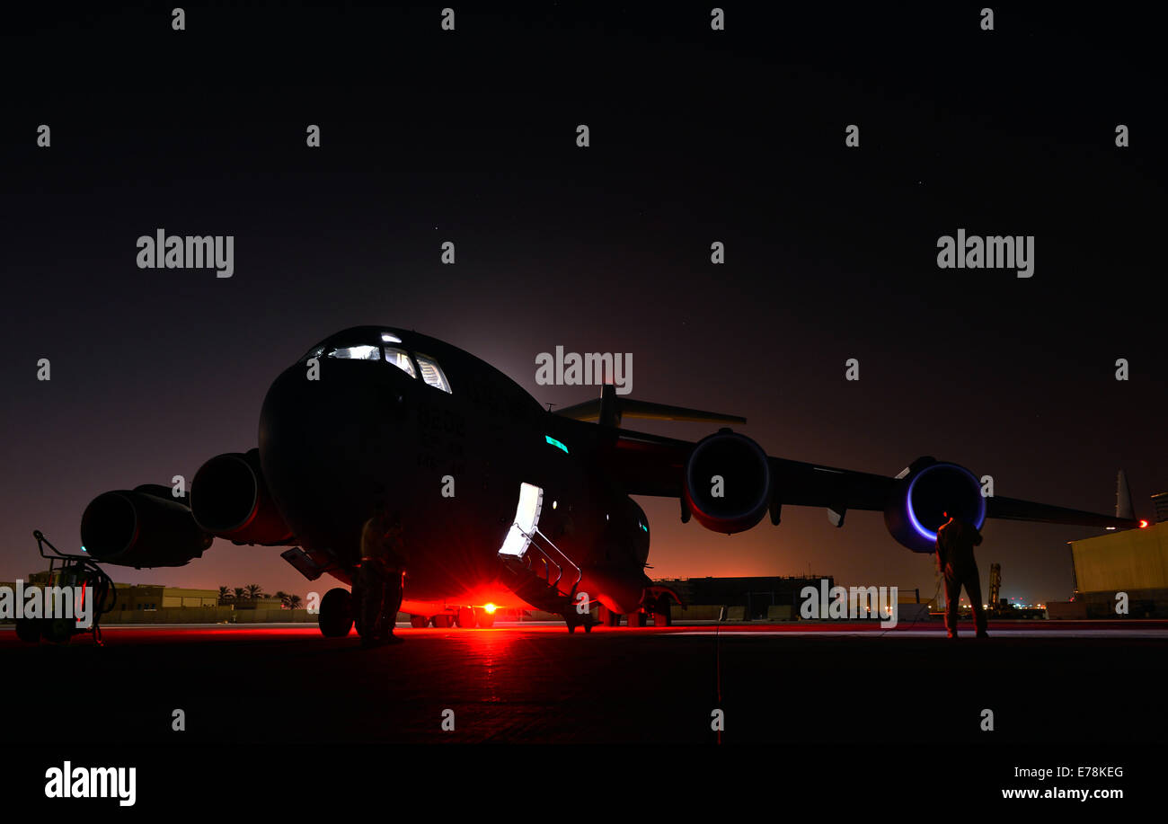 U.S. Air Force Senior Airman Jon Woerzburger, a C-17 Globemaster III aircraft flying crew chief with the 816th Expeditionary - Stock Image