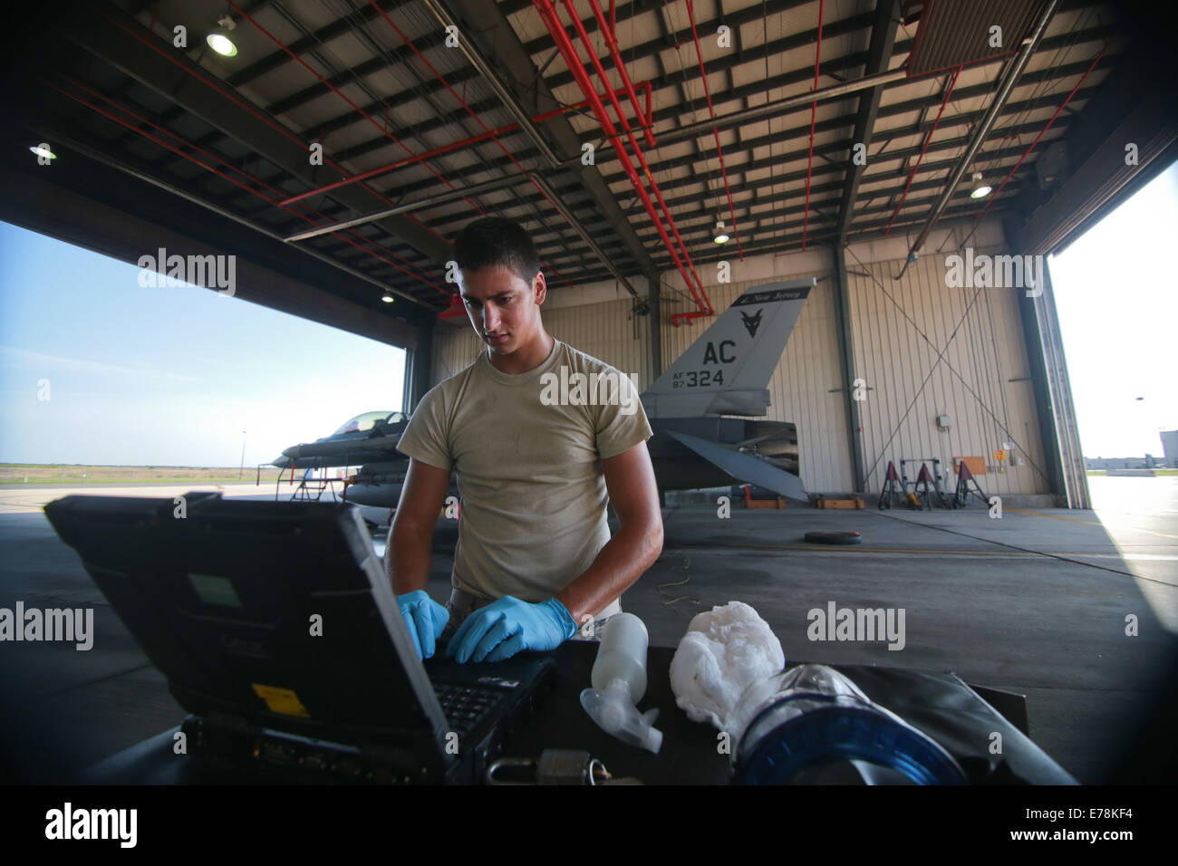 U.S. Air Force Airman 1st Class Shane Dietrich, a crew chief with the 177th Fighter Wing, New Jersey Air National Stock Photo