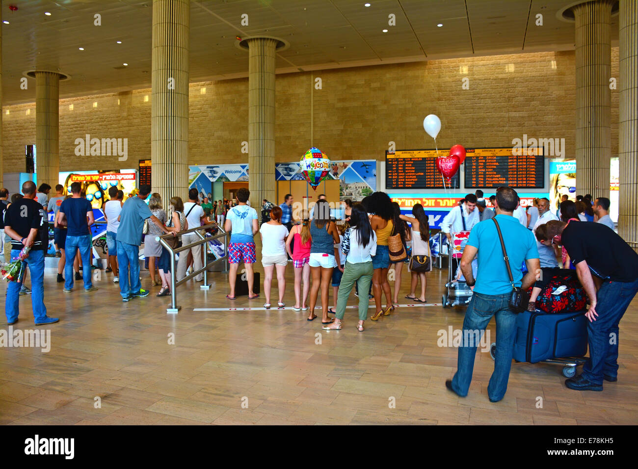 Arrivals reception hall, Ben Gurion airport, Israel - Stock Image