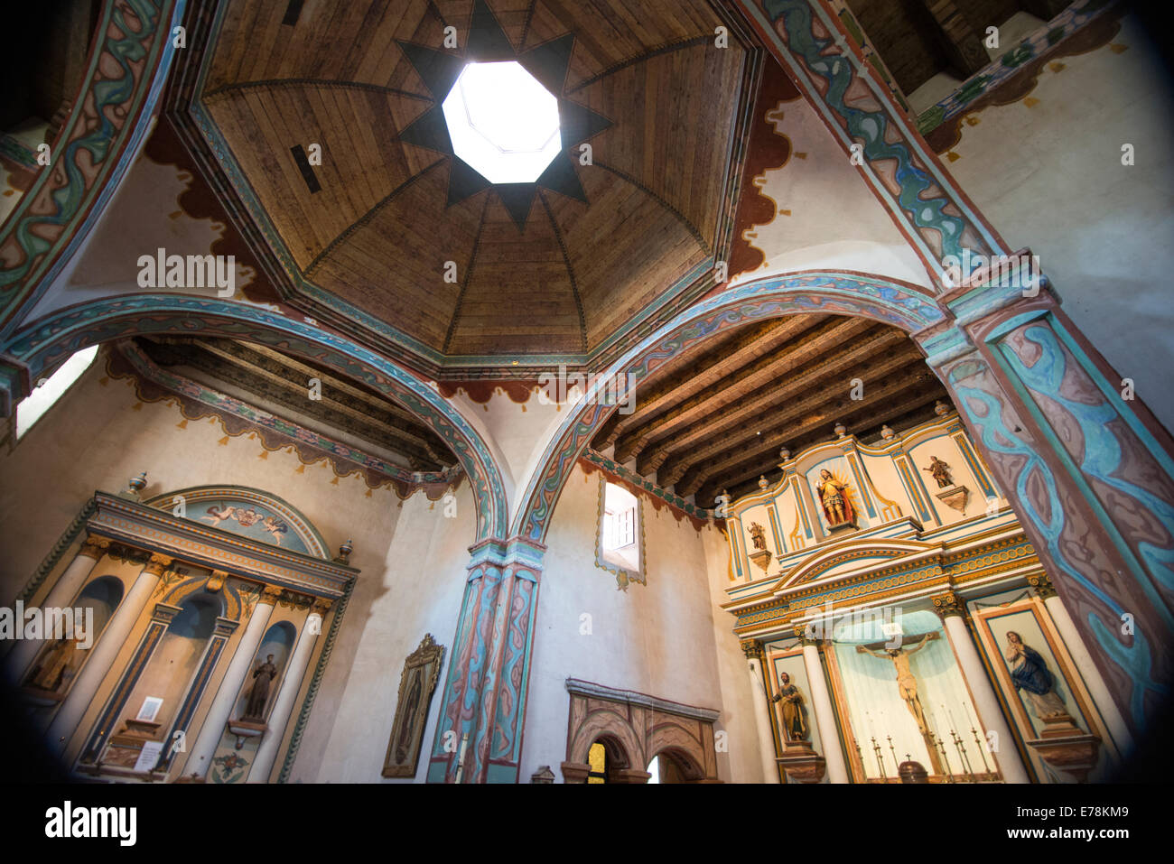 Interior and dome  of Mission church; Old Mission San Luis Rey de Francia; Oceanside; , California, USA - Stock Image