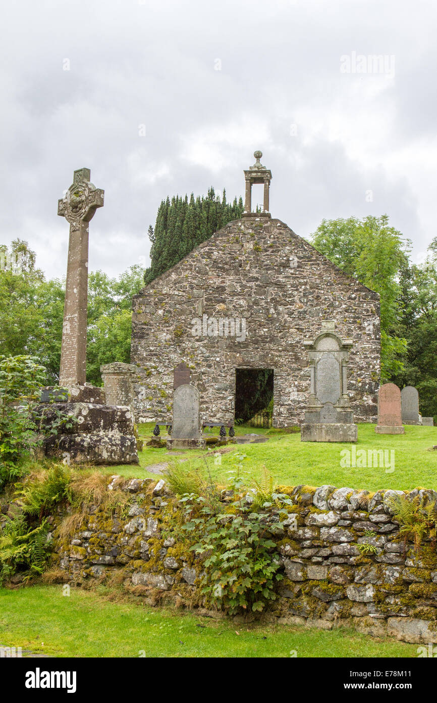 Rob Roy's Grave in the hamlet of Balquhidder above Loch Voil in Loch Lomond and The Trossachs National Park nr Glasgow Scotland Stock Photo