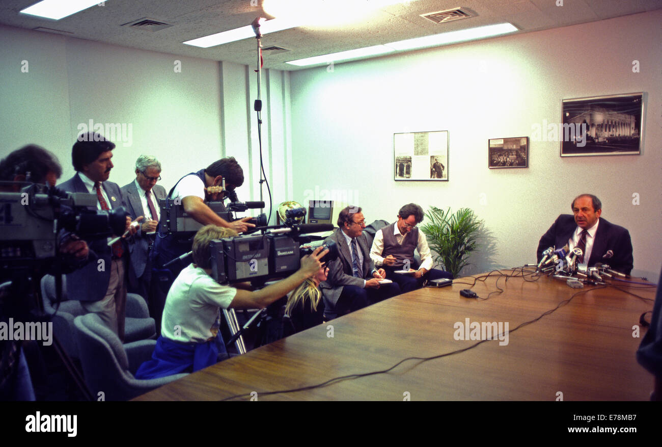 Maurice Mann, Pacific Stock Exchange, press conference - Stock Image