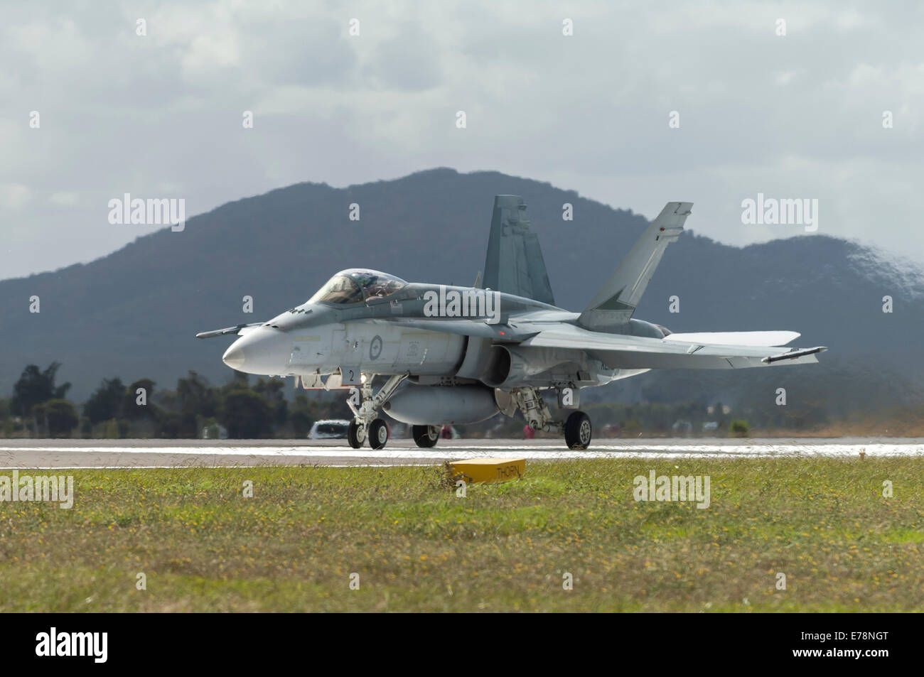 McDonnell Douglas F/A-18A Hornet of the RAAF takes off - Stock Image