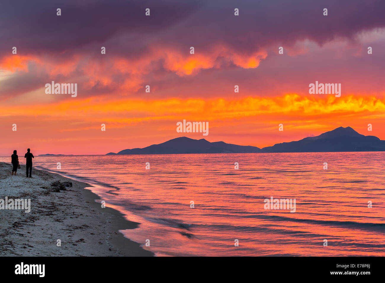 Sunset over sea in Greece - Stock Image