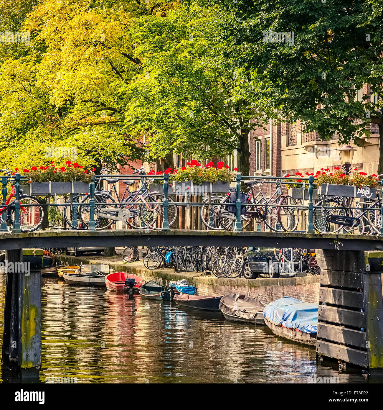 Canal in Amsterdam - Stock Image