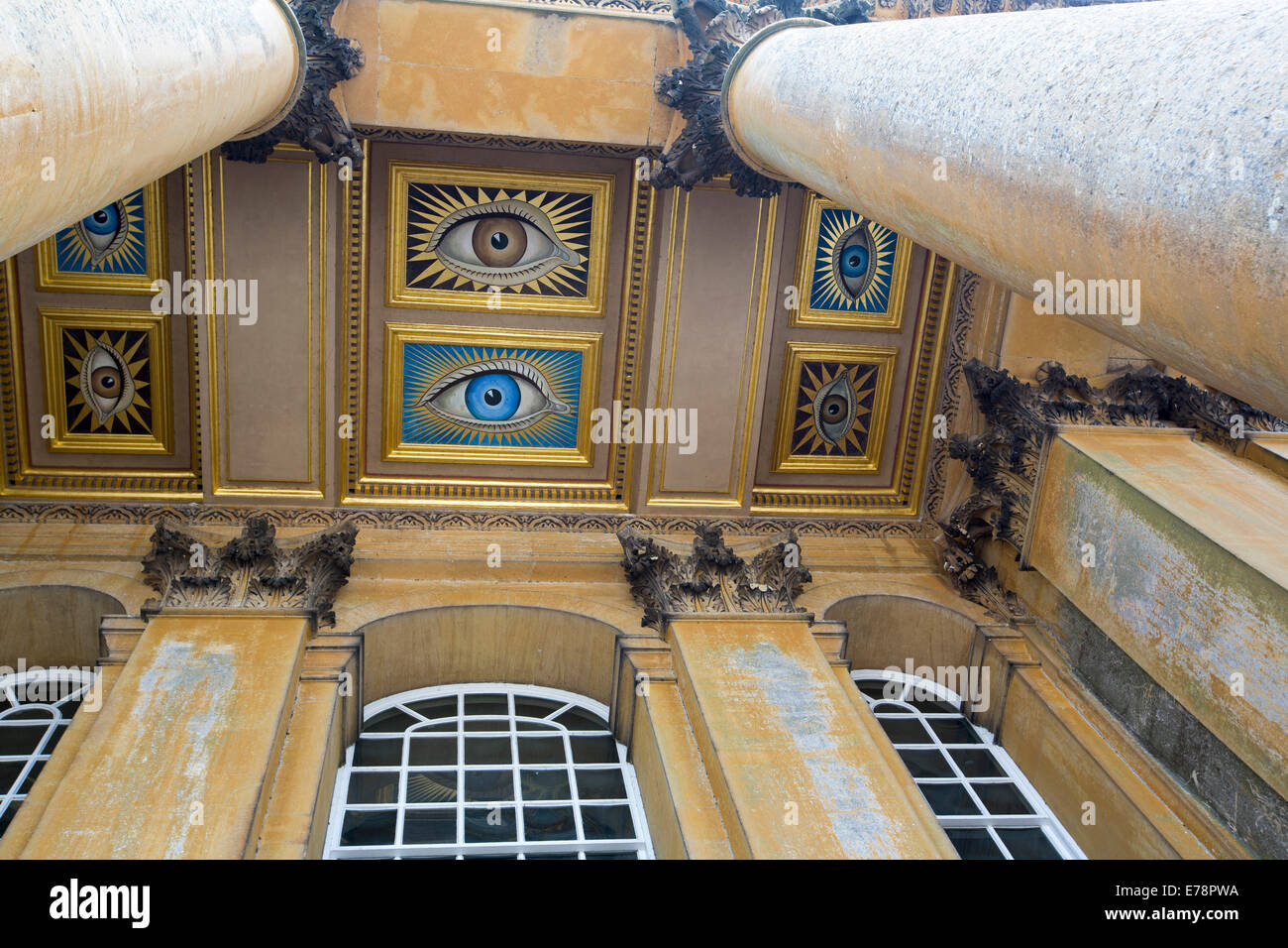 High ceiling painted with unusual and spectacular series of colourful eyes looking down at visitors at Blenheim - Stock Image