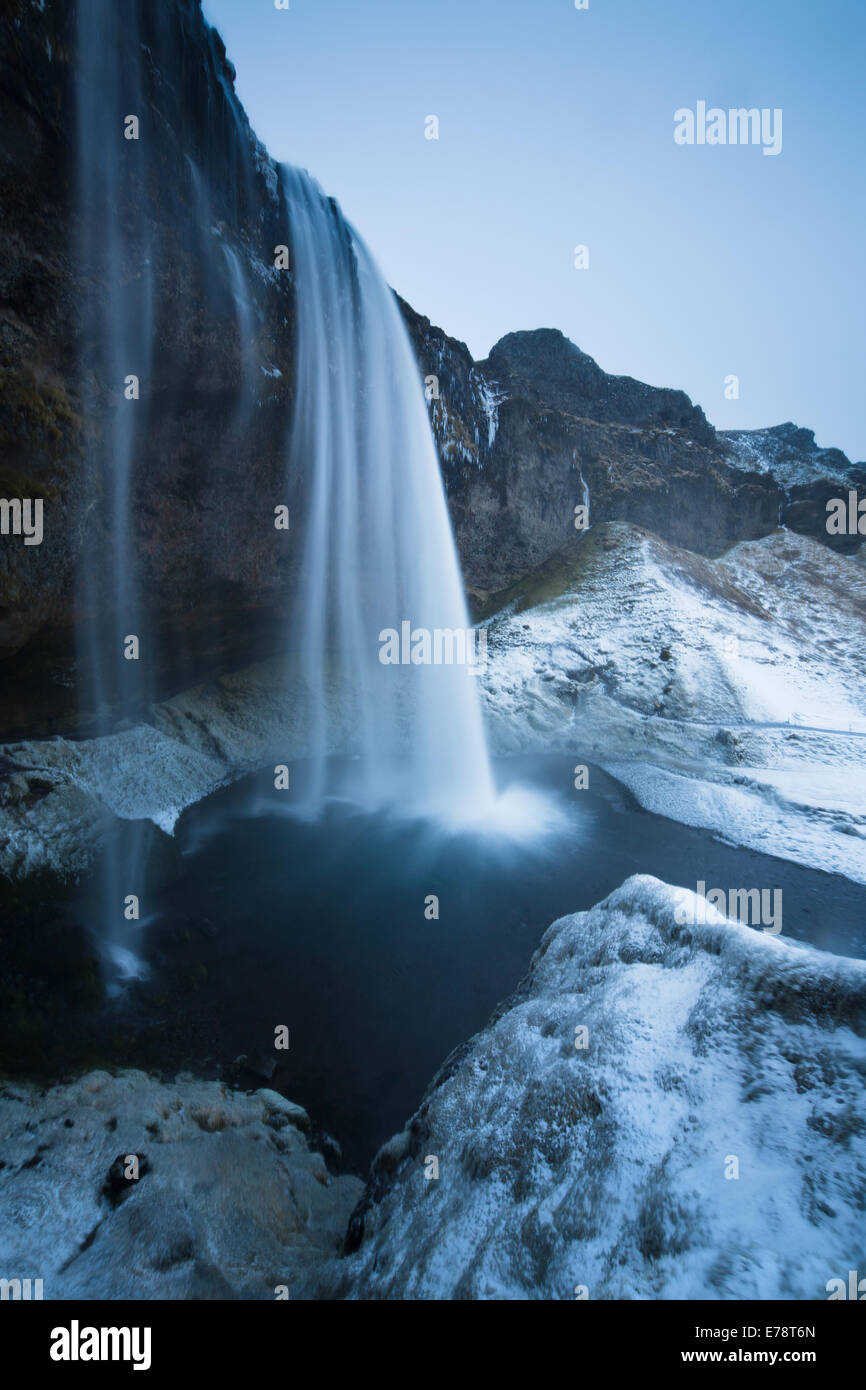 Seljalandsfoss in the winter, southern Iceland - Stock Image
