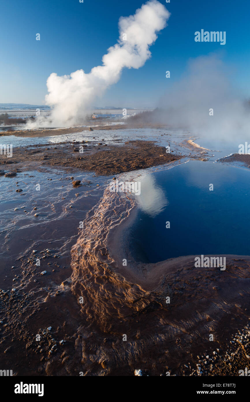 the hot springs and geysers at Geysir, Iceland - Stock Image