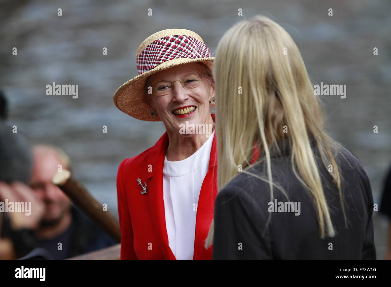 Her Majesty, Queen Margrethe II of Denmark during her visit to the Danish ship Havhingsten fra Glendalough ('Sea - Stock Image