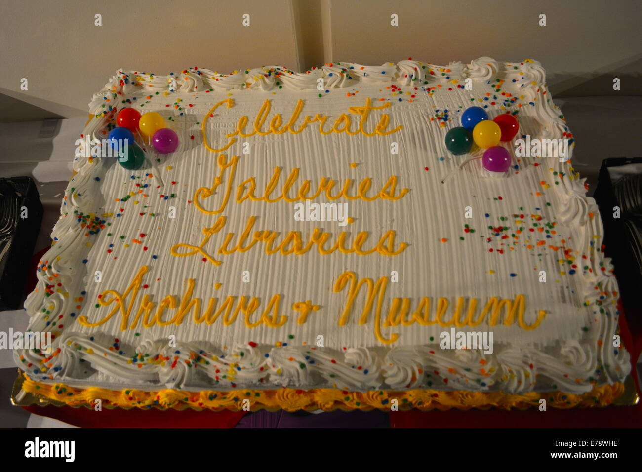 GLAM Philly Day Out Celebration. The cake (find the typo). At the Chemical Heritage Foundation - Stock Image