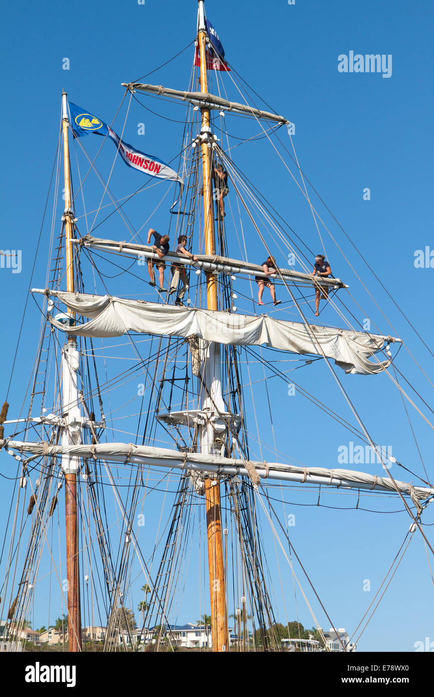 Crew members on the  brigantine Exy Johnson at the 30th Annual Toshiba Tall Ships Festival Dana Point Harbor Southern Stock Photo