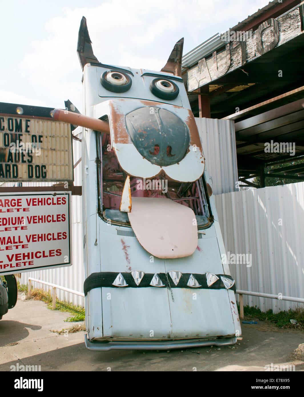 Dog car sculpture at a garage in San Antonio Texas - Stock Image