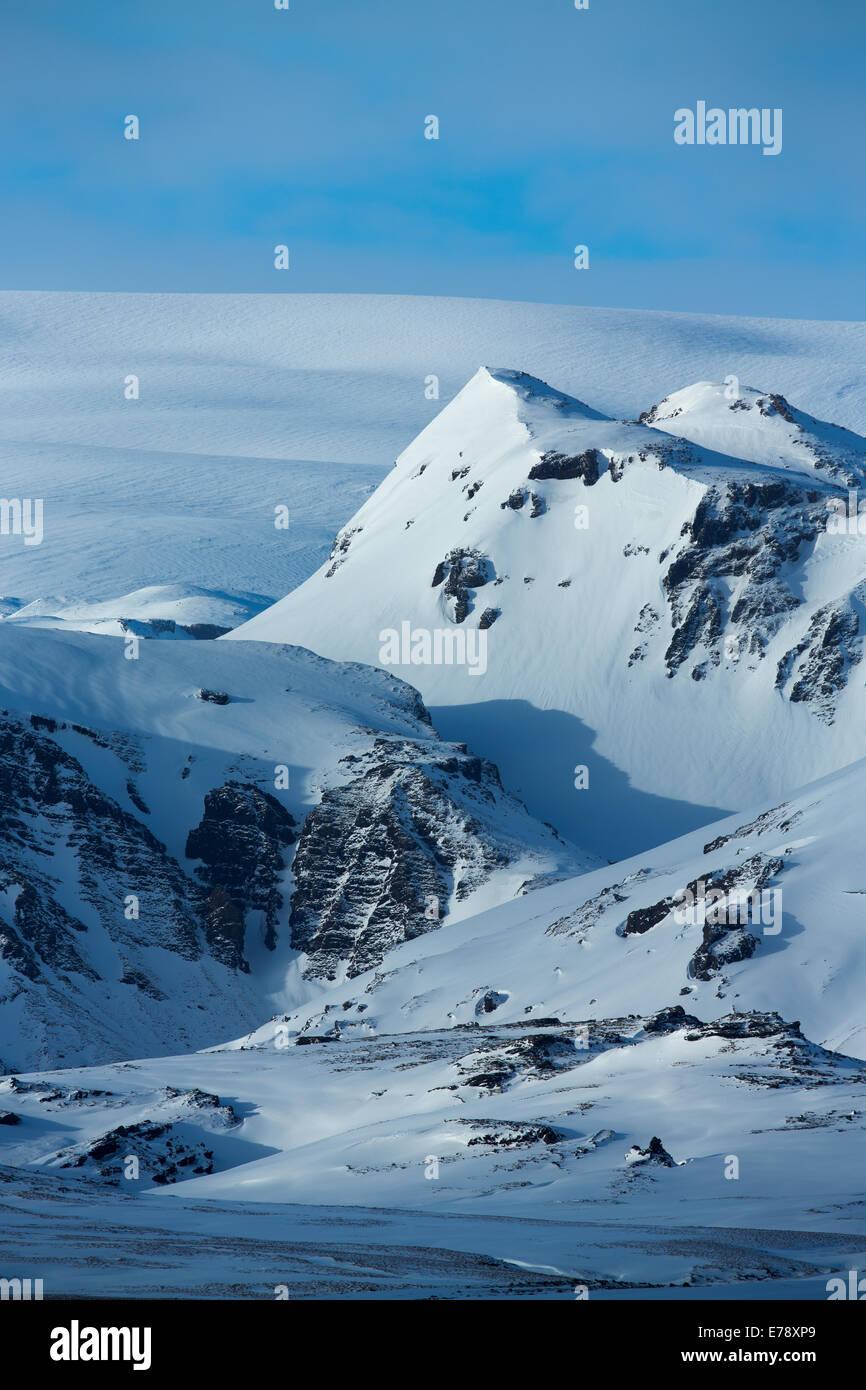 the Myrdalsjokull glacier, southern Iceland - Stock Image