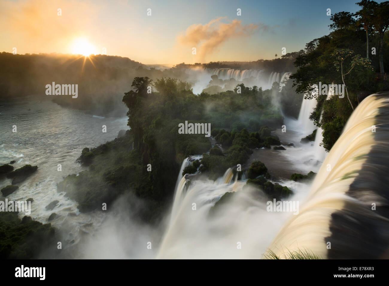 Iguazu Falls at dawn, Argentina Stock Photo