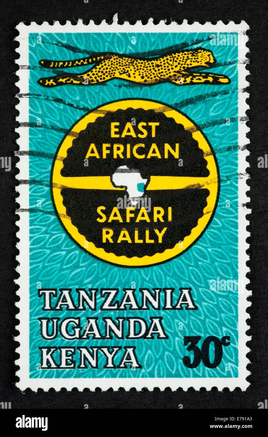 East African safari rally postage stamp - Stock Image
